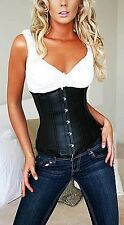Sexy Black Faux Leather Underbust Body Shaper Ladies Waist Cincher Corset M L XL