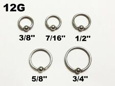 12G Surgical Steel Captive Bead Ring Earring Lip Septum Nipple Ring