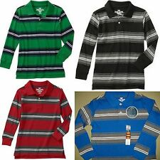 Faded Glory Boys' Striped long Sleeve Polo Shirt