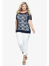 Torrid Navy Lace Top Plus Size 2 4 1 0 3 5 cozy Floral Stretch  Blouse Brand New