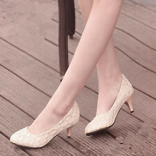 Details about  Ivory Wedding Shoes Sex Lace High Heel Bridesmaid Shoes Women Sh