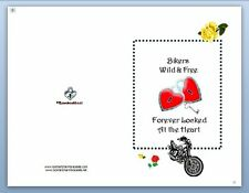 Bikers Wild and Free Friendship  5x7 Card Any Occasion