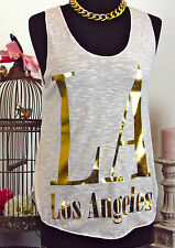 LA Los Angeles Statement Blogger Shirt Swag lachs gold Tank Top Oversize 34 - 38