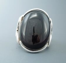 Large Sterling Silver Black Onyx Cabochon Wire Wrapped Ring