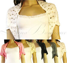 Ladies Crochet Shrug Lace Bolero Knitted Cardigan Womens Top  XS S M 6-12