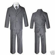 Baby Infant Toddler Kid Teen Formal Party Dark Gray Tuxedo 5pc Set Boy Suit S-20