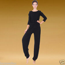 Plus size v-neck smooth Yoga/belly dance costume 2pcs top+pants 4 colors 8 style