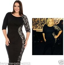 ♥ Gemma Collins Style Ponte Lace Dress Bodycon Pencil TOWIE Size 16 18 20 22 24