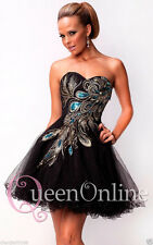 Peacock Mini Party Prom Cocktail Dress Formal Graduation Homecoming 6 8 10 12 14