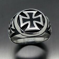 Mens Silver Black IRON Cross 316L Stainless Steel Biker Ring