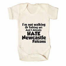 I HATE NEWCASTLE FALCONS FUNNY BABY GROW - RUGBY BABY GROW SALE SHARKS BATH