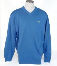 Lacoste Blue V-Neck Long Sleeve Cotton Knit Sweater Mens NWT