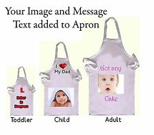White  Toddlers/Childs/Adults Apron Personalised your Image/Photo/Text/Message
