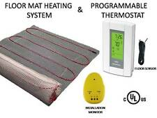 20 Sqft, MAT ELECTRIC RADIANT WARM  FLOOR TILE HEAT SYSTEM + THERMOSTAT, 120V