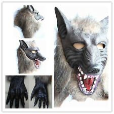 Wolves Wolf Full Head Mask Claws Wool Gloves Halloween Creepy Costume Theater