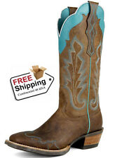 "Women's Ariat ""Caballera"" Weathered Brown Broad Square Toe Western Boot"