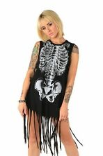IRON FIST LADIES CREEPERS MUSCLE FRINGE TANK TOP / T SHIRT BLACK (L3C)