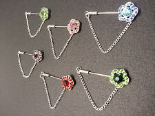 Hijab Scarf Shawl Flower Crystal Chain Pin Brooch With End Cap Different Colours