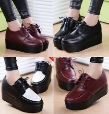 Free Shipping Women's Creeper Shoes Hiking Casual Platform Shoes Lace Up Oxfords