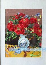 New completed finished needlepoint Embroidery-Red flowers vase-soft framed sale
