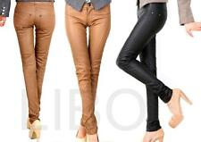 Women Pu Leather Low Waist Skinny Pencil Pants Slim Lady Casual tights Trousers