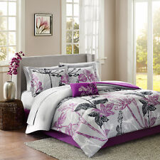 BEAUTIFUL 9PC MODERN PURPLE BLACK GREY WHITE FLORAL LEAF BRANCH COMFORTER SET