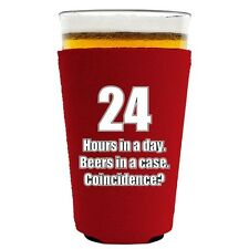 24 Hours in a Day, Beers in a Case, Coincidence? Funny Pint Glass Coolie