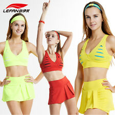 Built-in Bra Crop Top/Pleated Tennis Mini Skirt Cheerleader Costume Sport Outfit