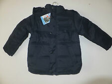 NEW BOYS' NAVY BLUE PADDED COAT WITH DETACHABLE HOOD FLEECED LINED 2 - 12YRS