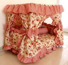 New Pastoral Princess Pet Dog Cat Handmade Bed House Red+Pillow S,M