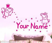 Peppa Pig with YOUR Name Wall stickers Fairy Stars Butterflies Girls Room