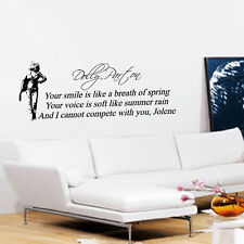 DOLLY PARTON WALL ART QUOTE STICKER DECAL JOLENE LYRICS EGG HEAD GIFTS