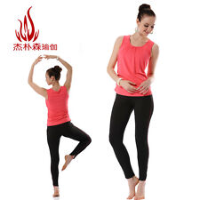Coral Rouch Scoop Neck Built-in Bra Yoga Sports Top Coral/Black Leggings 2810