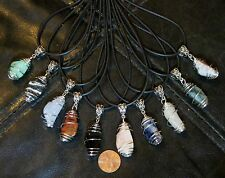 One Natural Gemstone Pendant in a Bead Cage - More Types of Tumbled Stones