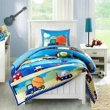 BOYS CONSTRUCTION FIRE TRUCK TRAIN POLICE PLANE WHITE BLUE SOFT COMFORTER SET