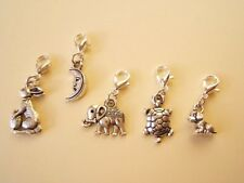 Clip on charms - Easter bunny/egg, Moon, Elephant, Tortoise, Puppy dog. New UK