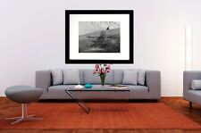 Black and White Crow Bird Raven Flying Flight Home Decor Art Matted Picture A556