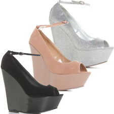 Ladies Womens Nude Silver Party Wedges High Peeptoe Shoes Sandals Size 4 5 6 7 8