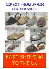 Ladies Leather Open Toed Menorquina glitter bling sandals Made in Spain