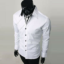 Excellent PJ JS Mens Casual Formal Office Business Dress Solid Slim Fit Shirts