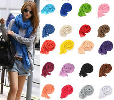 Sunset Girls Pure Candy Long Crinkle Soft Scarf Wrap Wraps Stole Shawl 20 COLORS