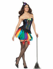 Ladies Sexy Rainbow Witch Halloween Party Outfit Fancy Dress Costume