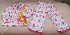 Girls DISNEY PRINCESS Crown Heart PAJAMA 2 Piece Set Belle Cinderella Aurora NWT