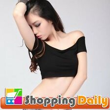 New Sexy Womens Off-Shoulder Midriff-baring Club Party T-Shirt Crop Tops