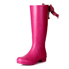 Stylish Casual Womens Fashion Pink Bow Tie High Rain Boots Rubber Snow Boots