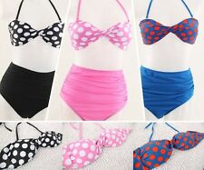Cutest Women Retro Swimsuit Swimwear Vintage PIN UP High Waist Bikini Beach Set