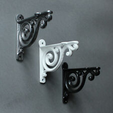 Antique Cast Iron Victorian Scroll Shelf Wall Brackets - White Black Pewter ~ B1