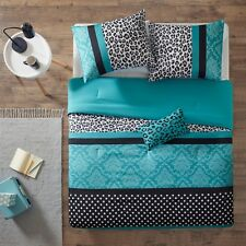 MODERN CHIC PINK ZEBRA GREY BLACK TEAL BLUE DOTS STRIPE COMFORTER SET W PILLOW