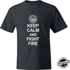 Keep Calm And Fight Fire T-Shirt - Navy Blue Firefighter TShirt- FREE SHIPPING!