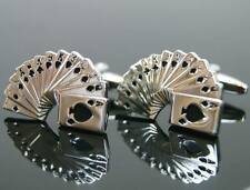 New Stainless Steel Mens Mr Poker Playing Cards Black Cuff links Cufflinks Gift